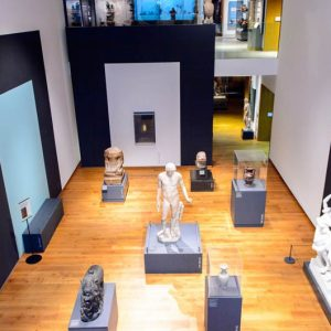 Picture of the interior of Ashmolean Museum, showing sculptures